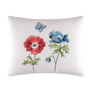 White Linen Floral Embroidered Throw Pillow
