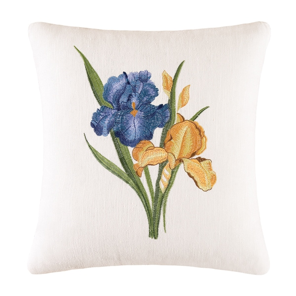 Iris Embroidered Throw Pillow