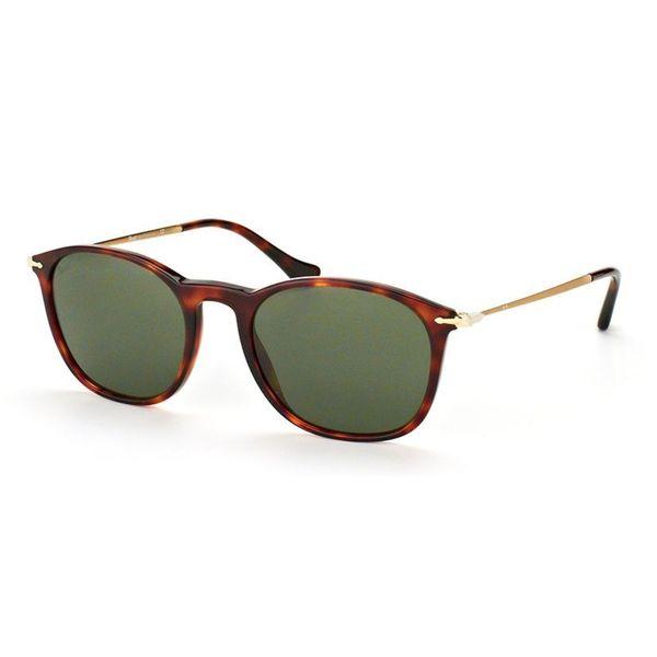 Persol Men's PO3124S 24/31 Havana Plastic Square Sunglasses 19198675
