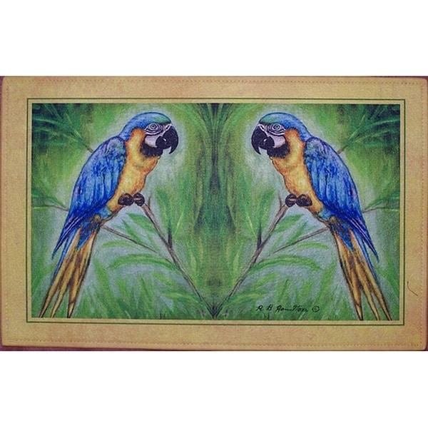 Betsy Drake Coastal Blue Macaw Door Mat