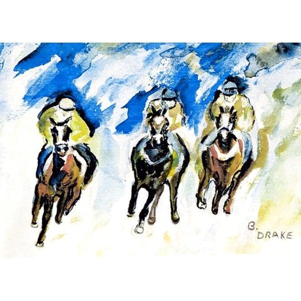 Betsy Drake Horse Racing Polyester Door Mat