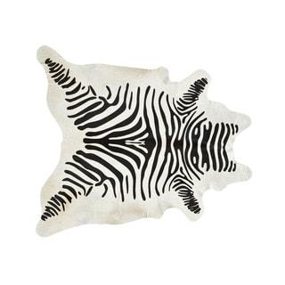 Stenciled Black and White Zebra Print Cowhide Rug (Brazil)