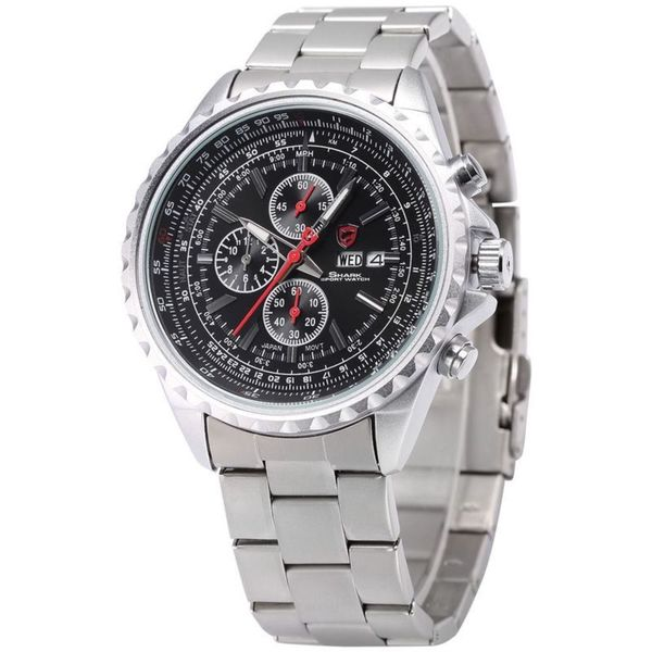 Shark Sport Watch Mens Black/ Silver Stainless Steel Band Chronograph Watch SH335