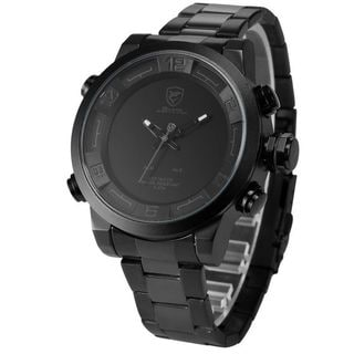 Shark Sport Watch Mens Black/ Grey Stainless Steel Band Analog LED Display Quartz Watch SH364