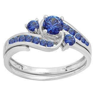 Ladie's 10k White Gold 7/8-carat Round-cut Blue Sapphire Swirl Engagement Ring and Matching Band Set