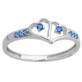 Ladies Sterling Silver 1/6-carat Round-cut Blue Sapphire Double Heart Engagement Ring