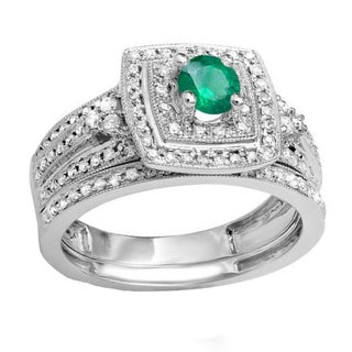 14k White Gold 3/4-carat Round Green Emerald and White Diamond Bridal Engagement Ring Set with Matching Band