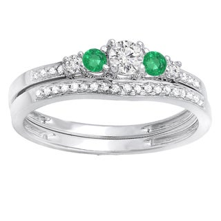 Ladies' 14k White Gold 0.5-carat Round Emerald and White Diamond 5-stone Bridal Engagement Ring and Matching Band Set