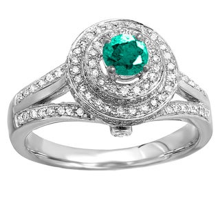 14k White Gold 1.5-carat Round-cut Emerald and White Diamond Halo-style Split Shank Vintage Bridal Engagement Ring