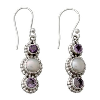 Handcrafted Sterling Silver 'Petite Floral Trio' Pearl Amethyst Earrings (8 mm) (India)