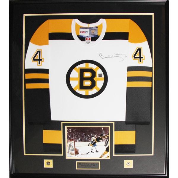 Bobby Orr Boston Bruins Signed White Jersey Frame 19200707