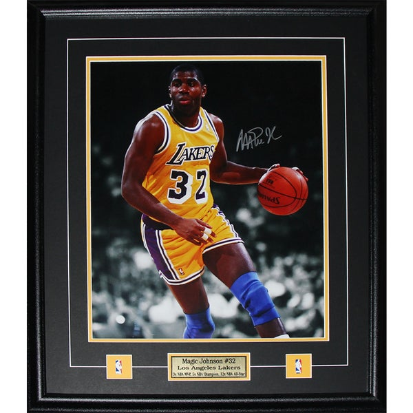 Magic Johnson Los Angeles Lakers Signed 16x20-inch Frame