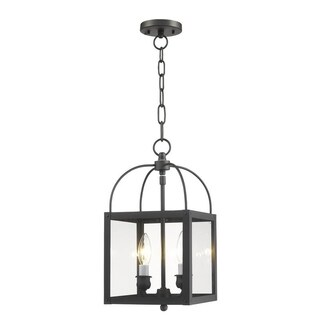 Livex Lighting Milford Blue Steel 2-light Convertible Chain Hang/Ceiling Mount
