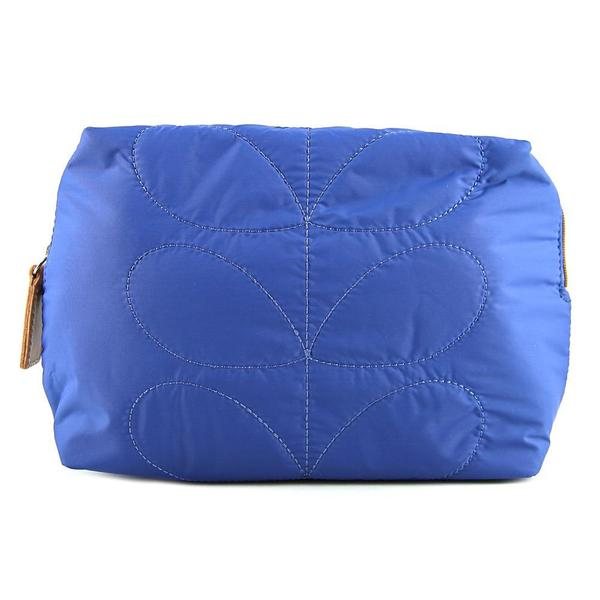 Orla Kiely Women's ETC Quilted Blue Nylon Wash Bag
