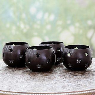 Set of 4 Handcrafted Steel 'Chocolate Stars' Tealight Holders (India)