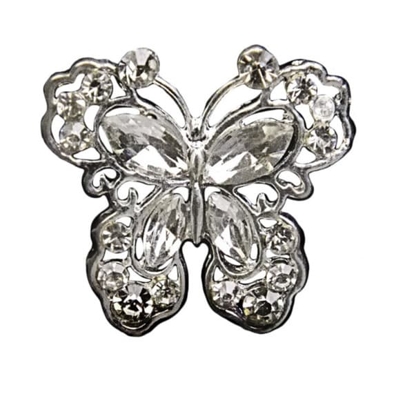Bouquet Jewelry Silver Rhinestone Butterfly Pin