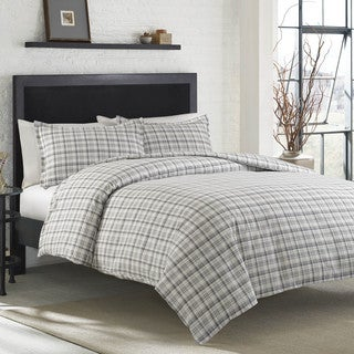 Eddie Bauer Beacon Hill Cotton Flannel Button Closure Duvet Cover Set