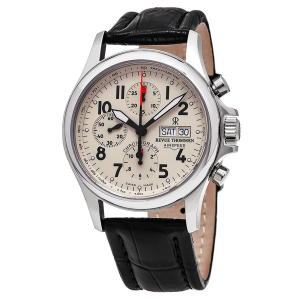 Revue Thommen 17081.6538 'Pilot' Cream Dial Brown Leather Strap Chronograph Swiss Automatic Watch