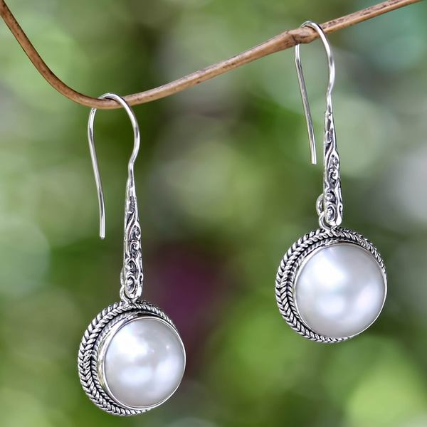 Sterling Silver 'White Camellia' 12mm Pearl Earrings (Indonesia)