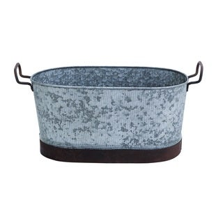 Metal Galvn Oval Tub with Ornate Handles