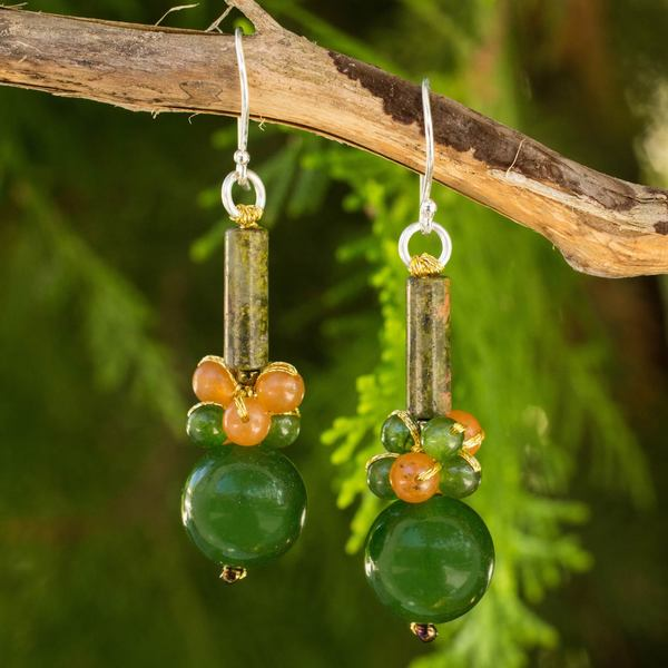 Sterling Silver 'Scenic Green' Unakite Quartz Earrings (Thailand)