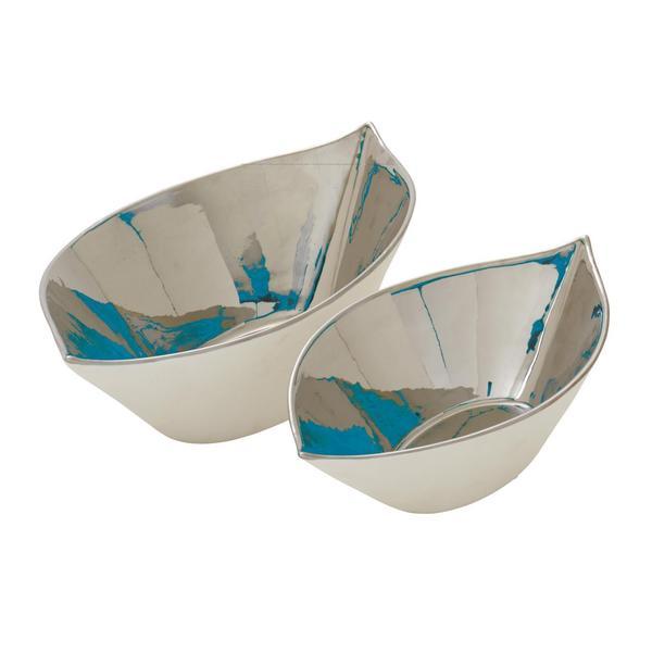 Silver Ceramic Bowls (Set Of 2)