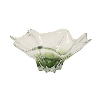 Clear/Green Glass Flute Bowl