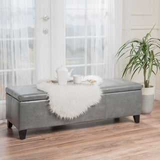 Christopher Knight Home Lucinda Bonded Leather Stitched Storage Ottoman Bench