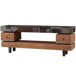 Bramble Co. Remi Mahogany Driftwood/ Tin Media Console