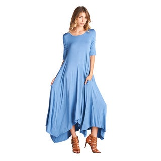 Spicy Mix Isla Beige Rayon Short Sleeve High/Low Hem Tunic Maxi Dress