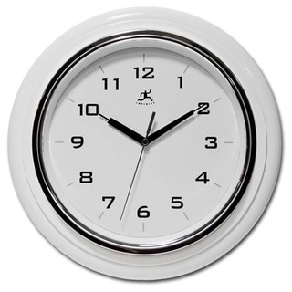 White Polyresin/Glass Deluxe Wall Clock