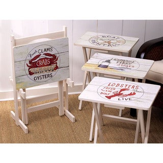 Wooden Set of 4 TV Tray Tables With Stand