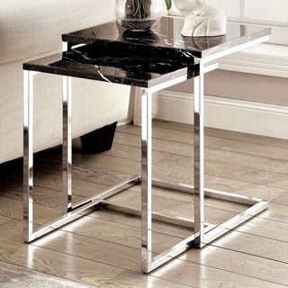 Furniture of America Sherise Contemporary Faux Marble Nesting Table