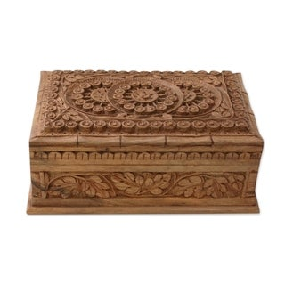Artisan Crafted Walnut Wood 'Sunflower Ivy' Jewelry Box (India)