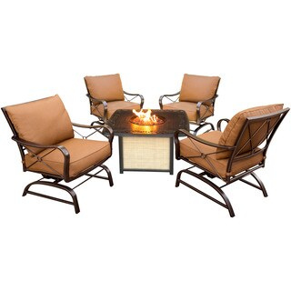 Hanover Outdoor SUMMRNGHTCAST Summer Nights 5-piece Conversation Set with Cast-top Fire Pit Table