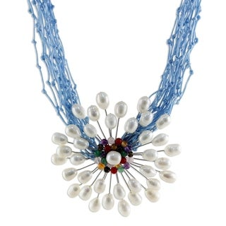 Silver 'Blue Marigold' Multigemstone 8mm Pearl Necklace (Thailand)