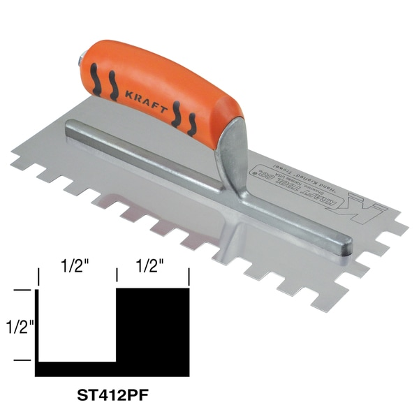 "1/2"" x 1/2"" x 1/2"" Square-Notch Trowel with ProForm Soft Grip Handle"