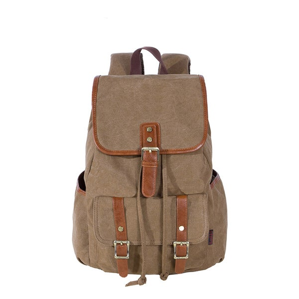 Kaukko Black/Khaki Canvas Hiking/Camping Backpack