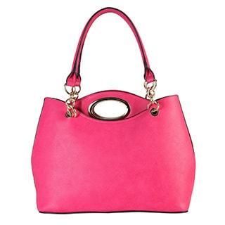 Rimen & Co. Women's Synthetic Leather Metal Handle 2-in-1 Tote Handbag