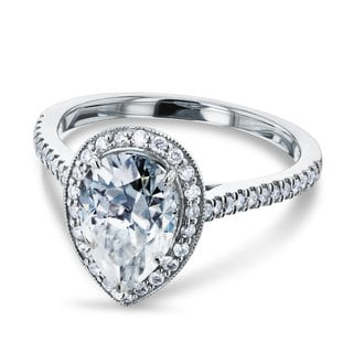 Annello 14k White Gold 2 1/10ct Pear Moissanite and 1/3ct TDW Round Diamond Halo Engagement Ring (G-H, I1-I2)