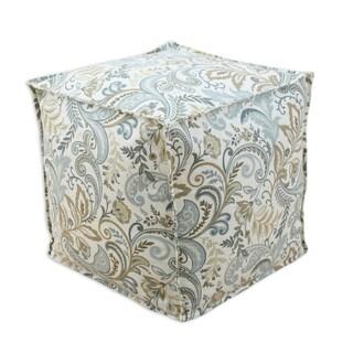 Findlay Seaglass Blue, Brown, Cream Linen 12.5-inch Square Ottoman