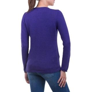 Cotton Alpaca 'Puno Purple' Sweater (Peru)