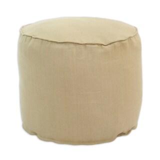 Circa Solid Barley Tan Linen Corded Bead-filled Hassock Ottoman