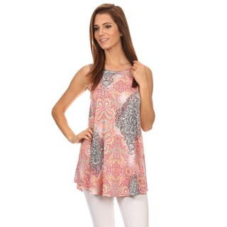 MOA Collection Women's Ornate Print Sleeveless Crewneck Top
