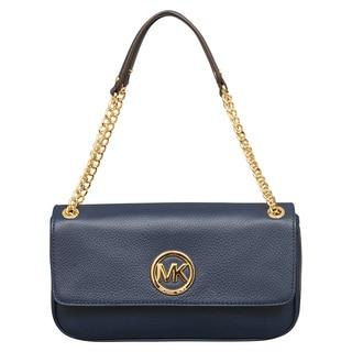 Michael Kors Fulton Small Navy Shoulder Flap Handbag
