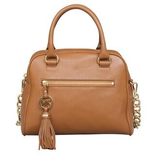 Michael Kors Knox Tassel Luggage Brown Satchel Handbag