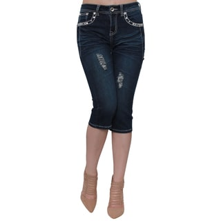 Sexy Couture S217-C Women's Blue Cotton/Polyester Rhinestone Stud Embroidery Pockets Capri Jeans