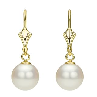 DaVonna 14k Yellow Gold Round White Freshwater Cultured Pearl Lever-back Earring (7-7.5 mm)