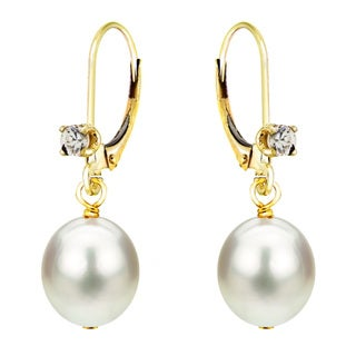 DaVonna 14k Yellow Gold 1/10ct Cubic Zirconia Long Shape White Freshwater Cultured Pearl Lever-back Earrings (8-9mm)