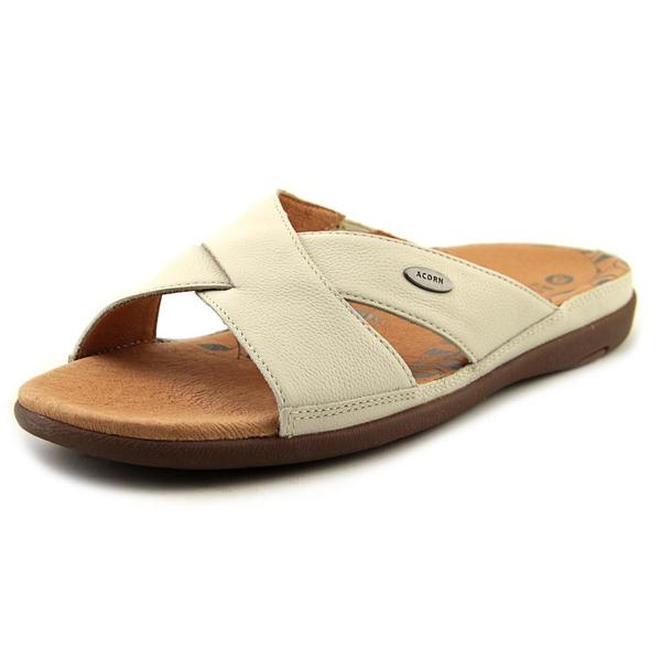 Acorn Women's 'Prima Cross Slide' Off-white Leather Sandals